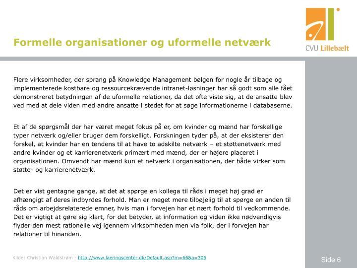 Formelle organisationer og uformelle netværk