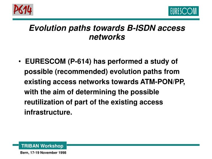 Evolution paths towards B-ISDN access networks
