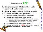 pseudo code rdf