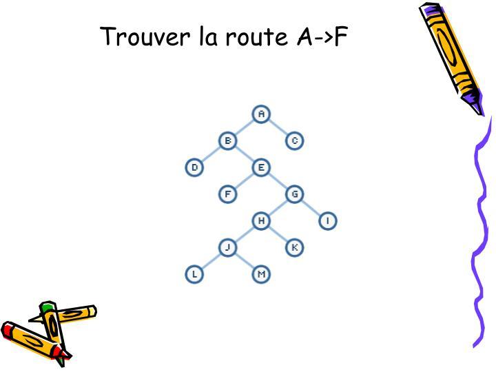Trouver la route A->F