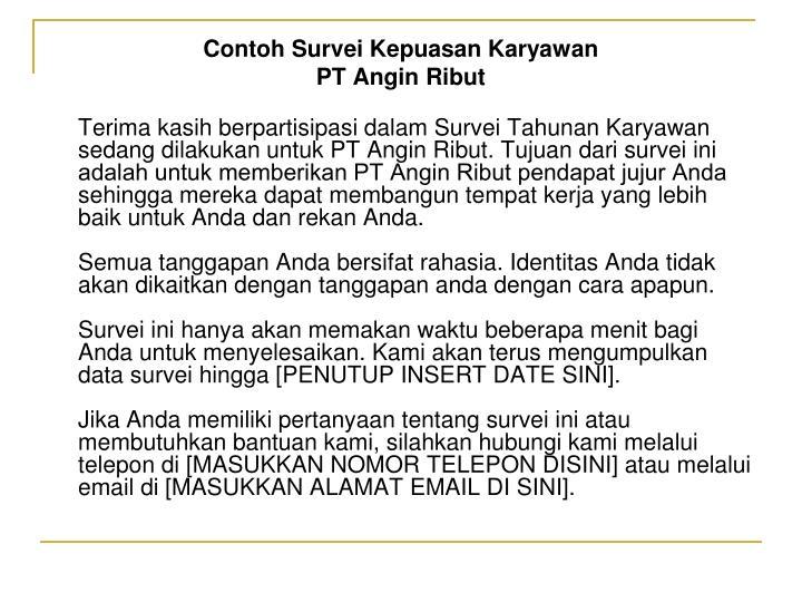 Contoh Survei Kepuasan Karyawan