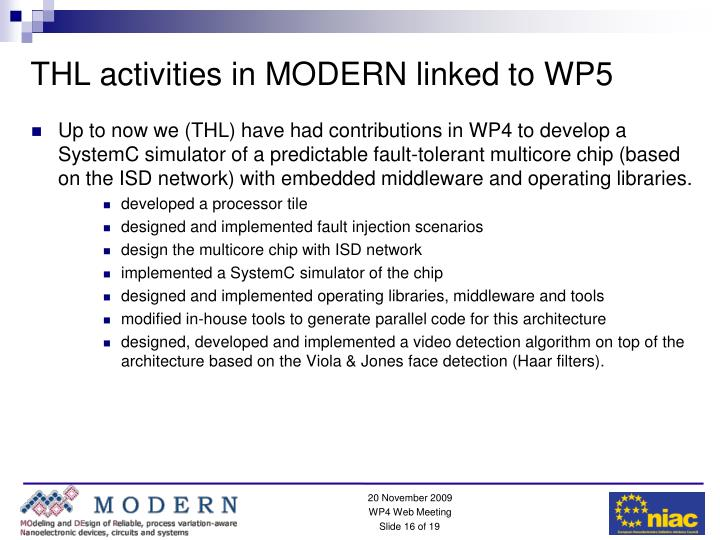 THL activities in MODERN linked to WP5