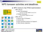 wp5 foreseen activities and deadlines
