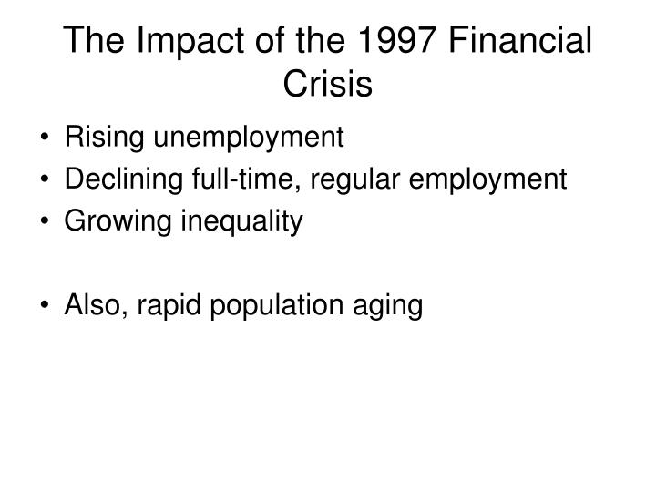 The Impact of the 1997 Financial Crisis