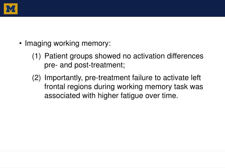 Imaging working memory: