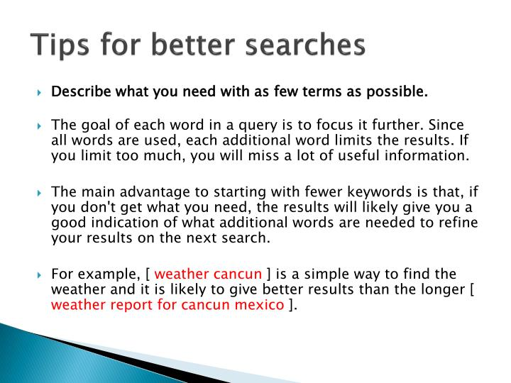 Tips for better searches