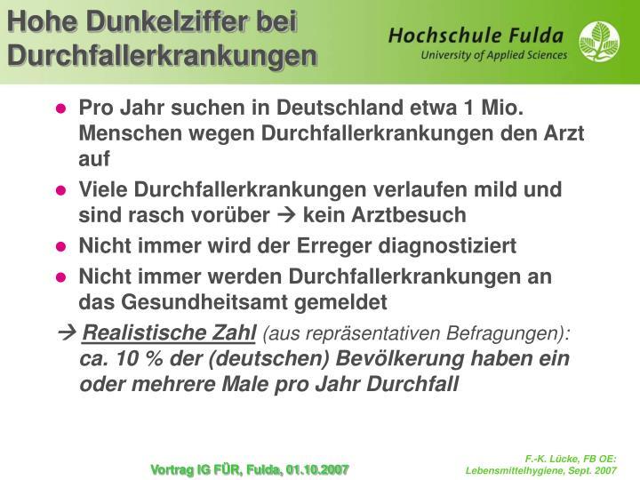 Pro Jahr suchen in Deutschland etwa 1 Mio. Menschen wegen Durchfallerkrankungen den Arzt auf