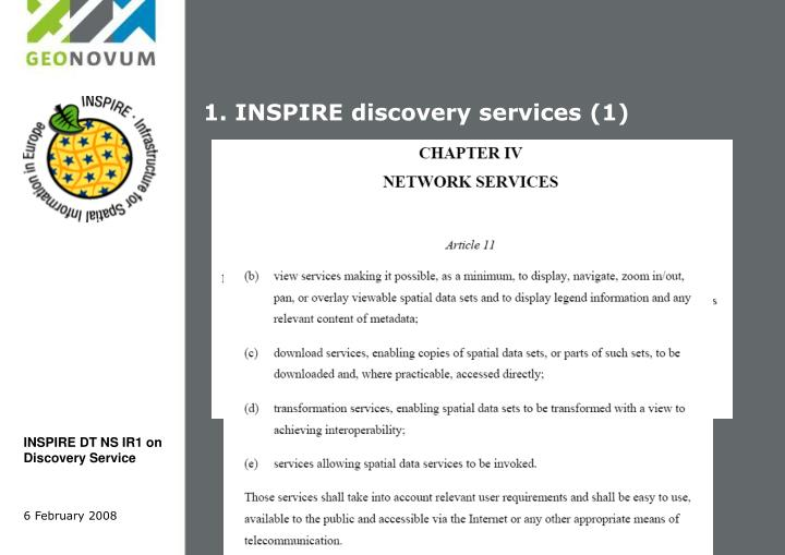 1. INSPIRE discovery services (1)