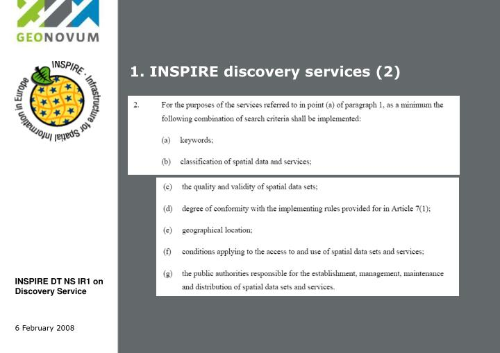 1. INSPIRE discovery services (2)