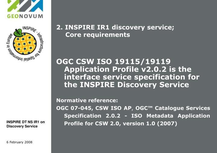 2. INSPIRE IR1 discovery service;