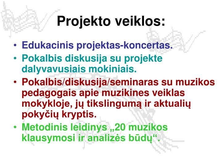 Projekto veiklos: