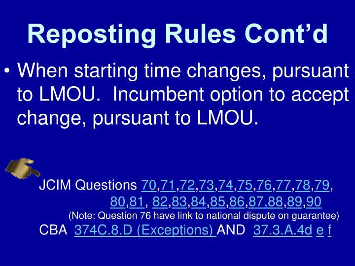 Reposting Rules Cont'd