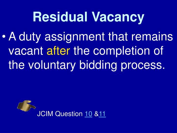 Residual Vacancy