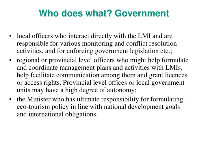Who does what? Government