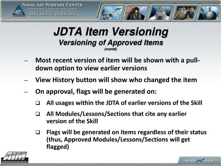 JDTA Item Versioning
