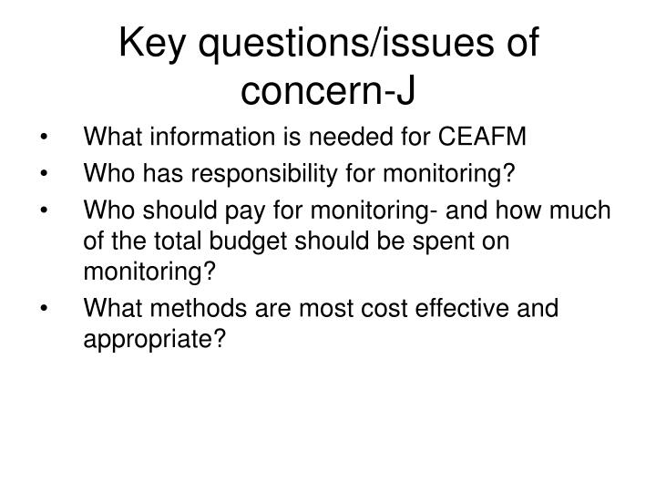Key questions/issues of concern-J