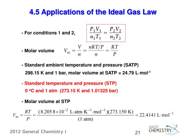4.5 Applications of the Ideal Gas Law