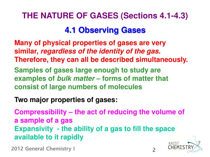 THE NATURE OF GASES (Sections 4.1-4.3)