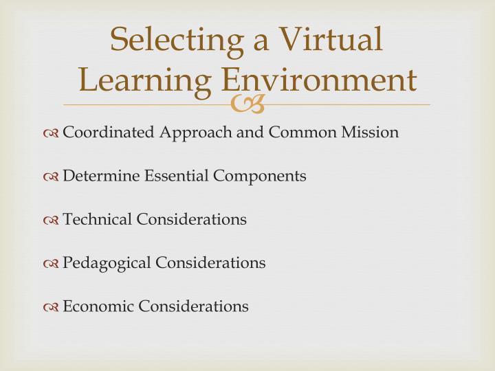 Selecting a Virtual Learning Environment