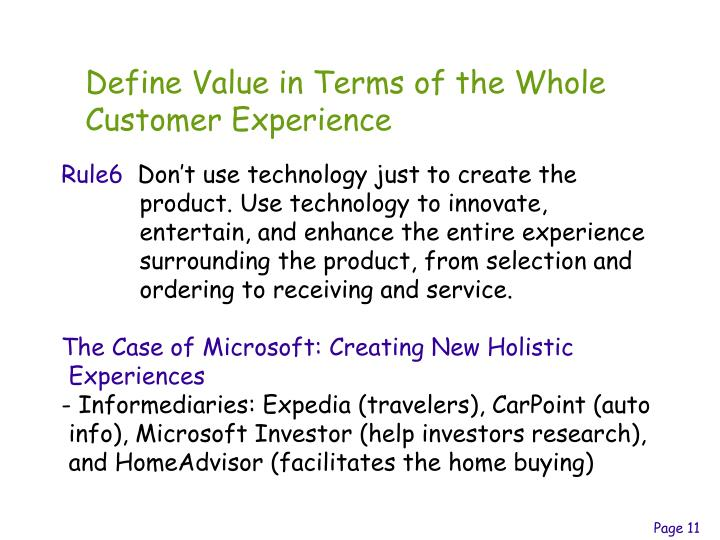 Define Value in Terms of the Whole Customer Experience