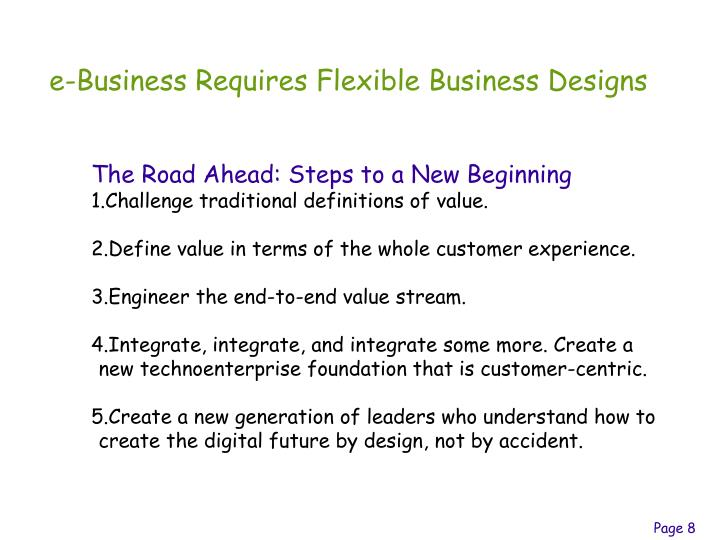 e-Business Requires Flexible Business Designs