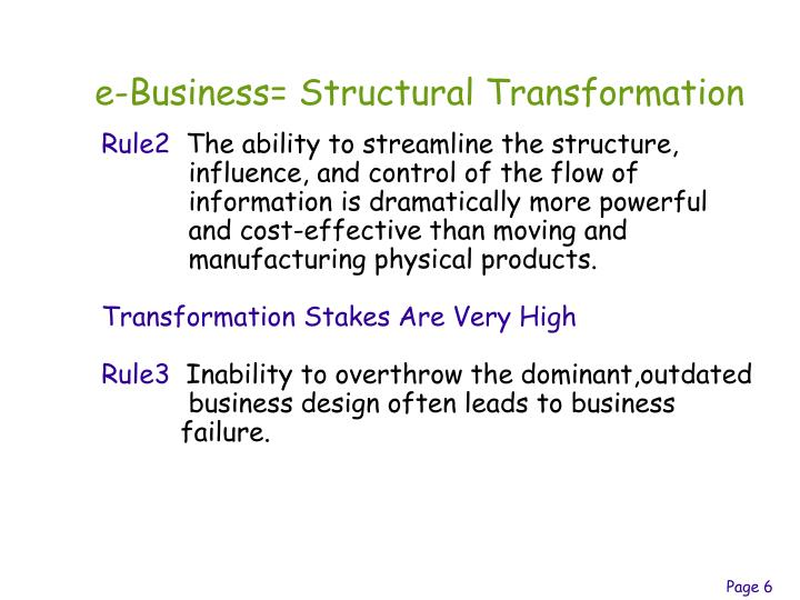 e-Business= Structural Transformation