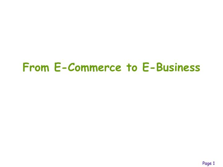 From e commerce to e business