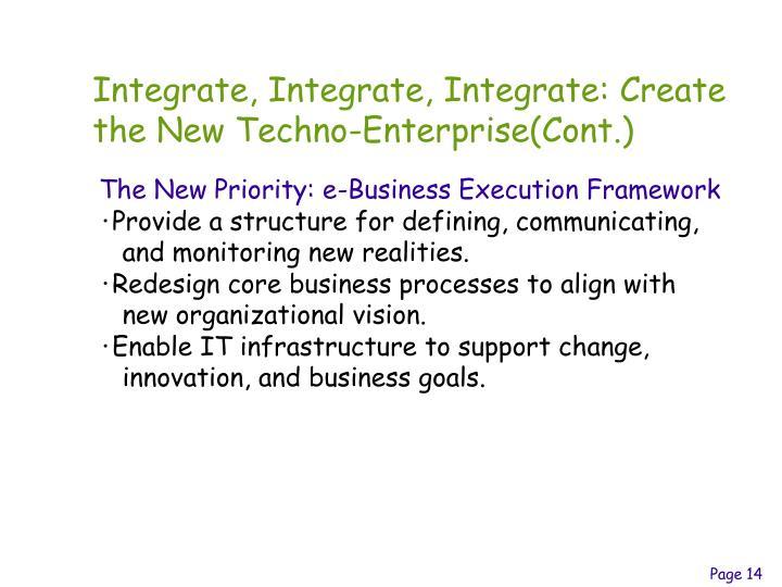 Integrate, Integrate, Integrate: Create the New Techno-Enterprise(Cont.)