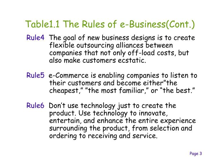 Table1.1 The Rules of e-Business(Cont.)
