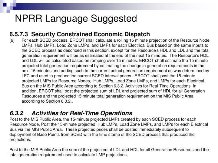 NPRR Language Suggested