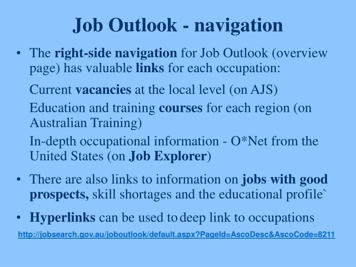 Job Outlook - navigation