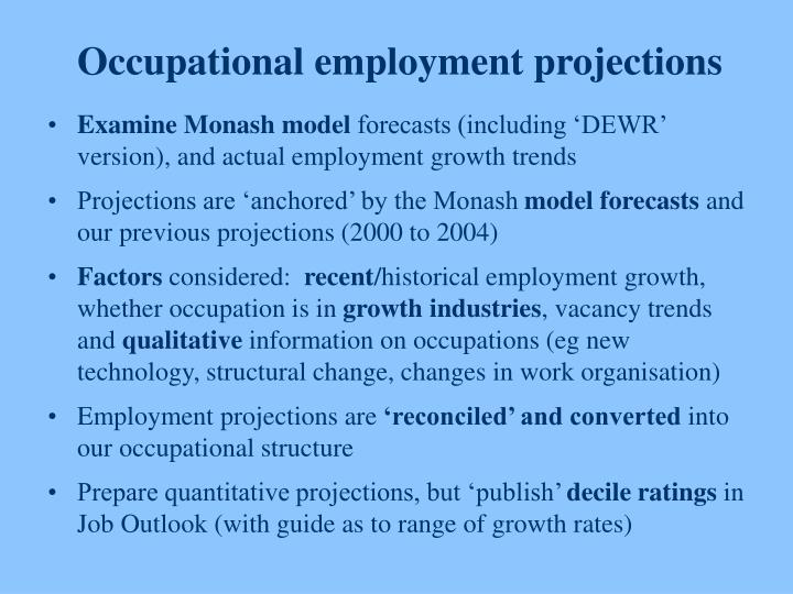 Occupational employment projections