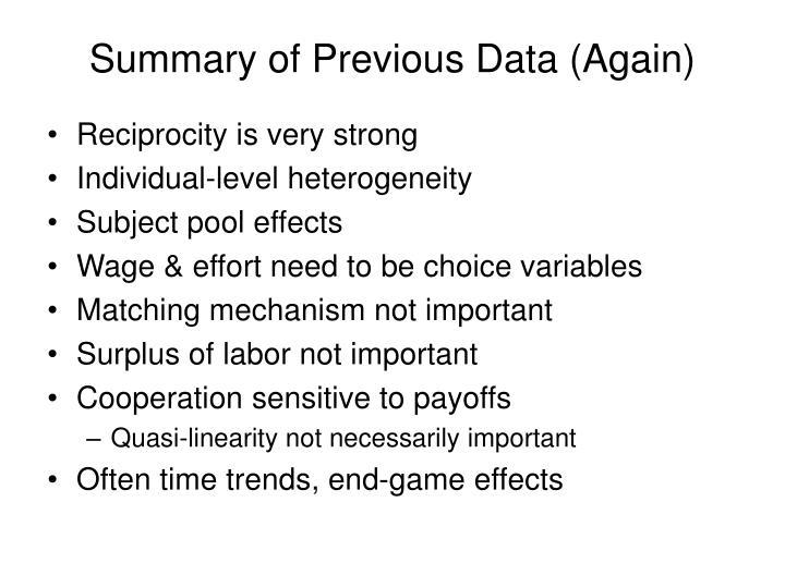 Summary of Previous Data (Again)