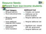 resource needs different from low income students