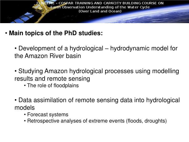 Main topics of the PhD studies: