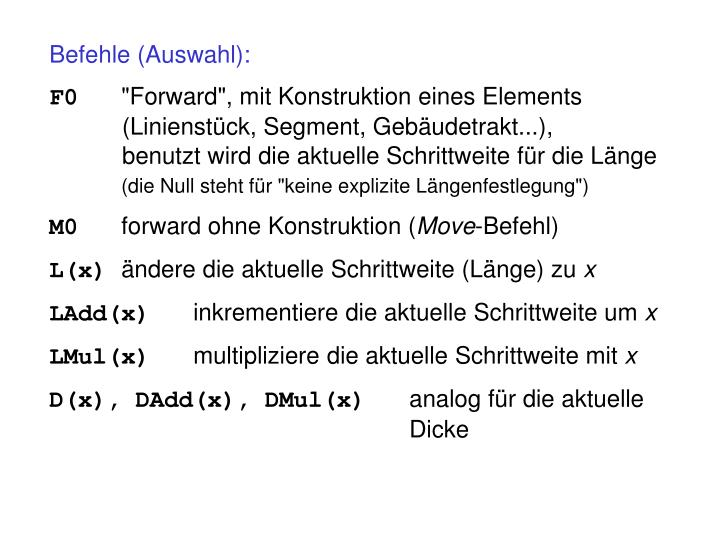 Befehle (Auswahl):