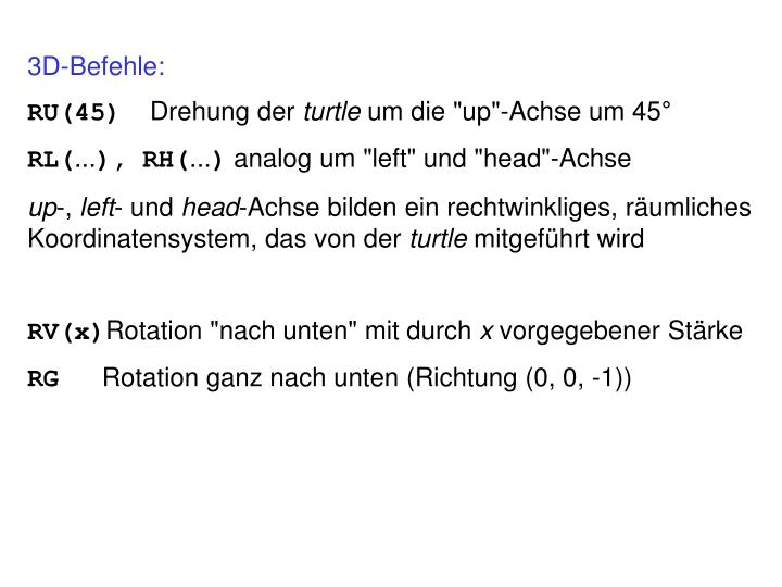 3D-Befehle: