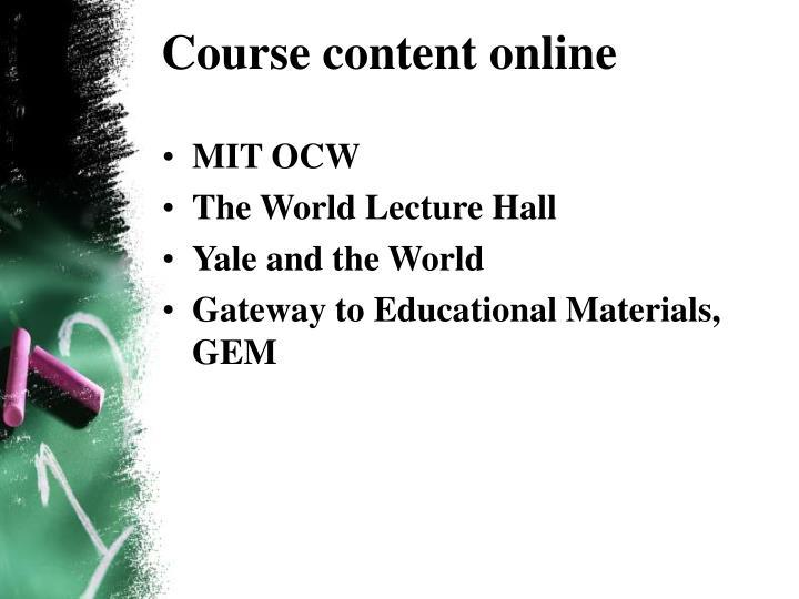 Course content online