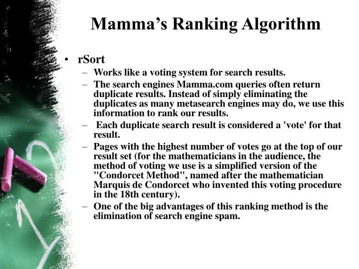 Mamma's Ranking Algorithm