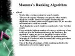 mamma s ranking algorithm
