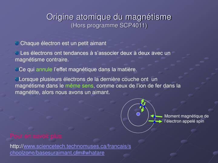 Moment magnétique de l'électron appelé spin