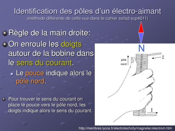 Identification des pôles d'un électro-aimant