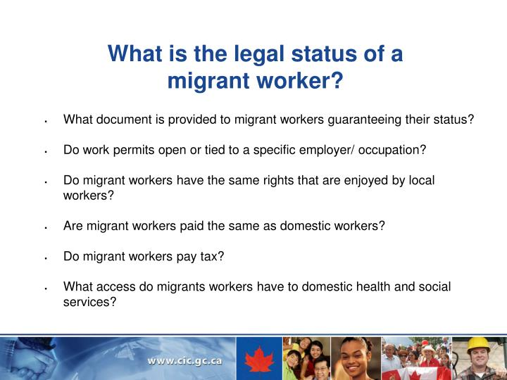 What is the legal status of a migrant worker?