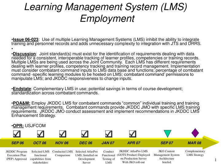 Learning management system lms employment
