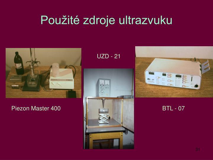 Použité zdroje ultrazvuku