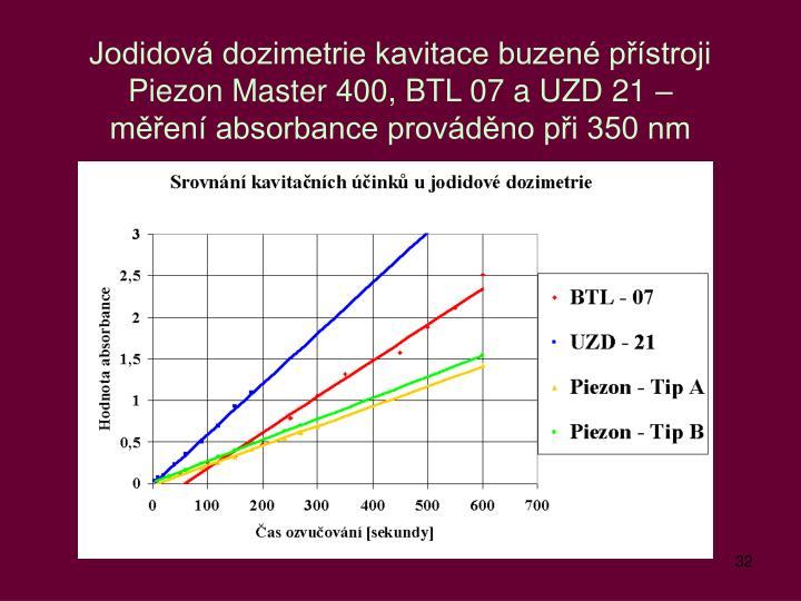 Jodidová dozimetrie kavitace buzené přístroji Piezon Master 400, BTL 07 a UZD 21 –
