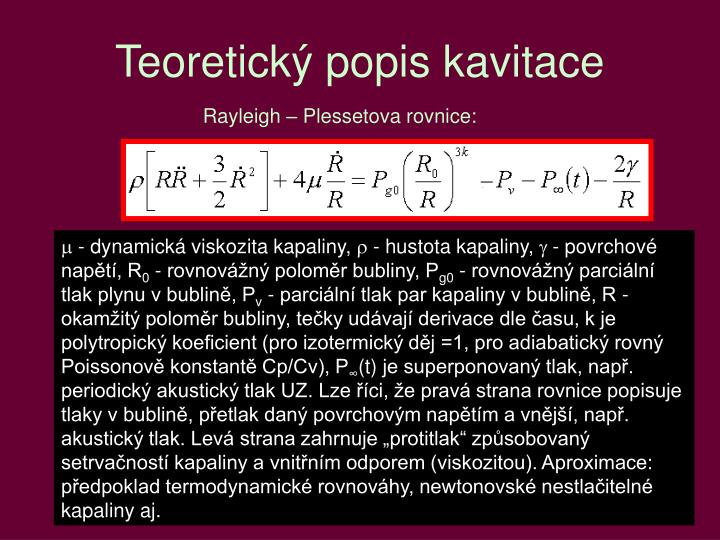 Teoretický popis kavitace