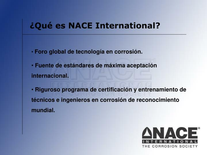 ¿Qué es NACE International?