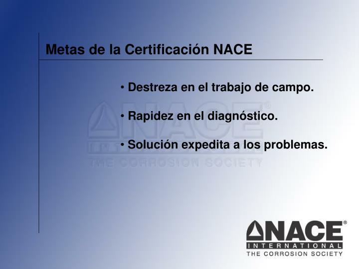 Metas de la Certificación NACE