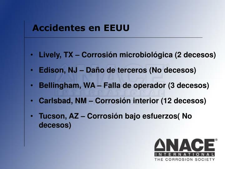 Accidentes en EEUU